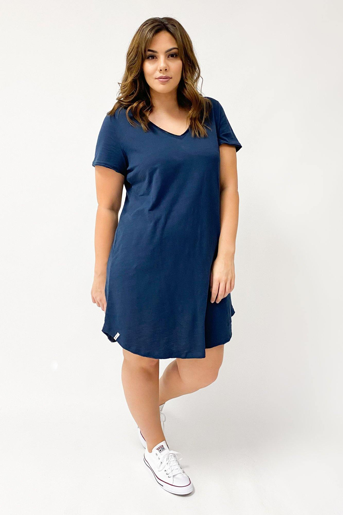 Elm Mary Textured Tee Dress Dark Sapphire