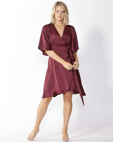 Fate Roula Wrap Dress Port Wine