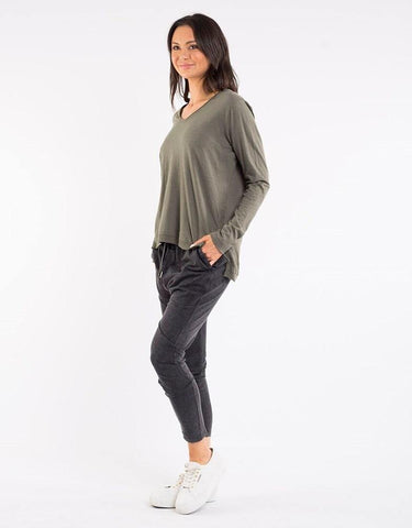 Foxwood Highline Vee Neck Top Khaki