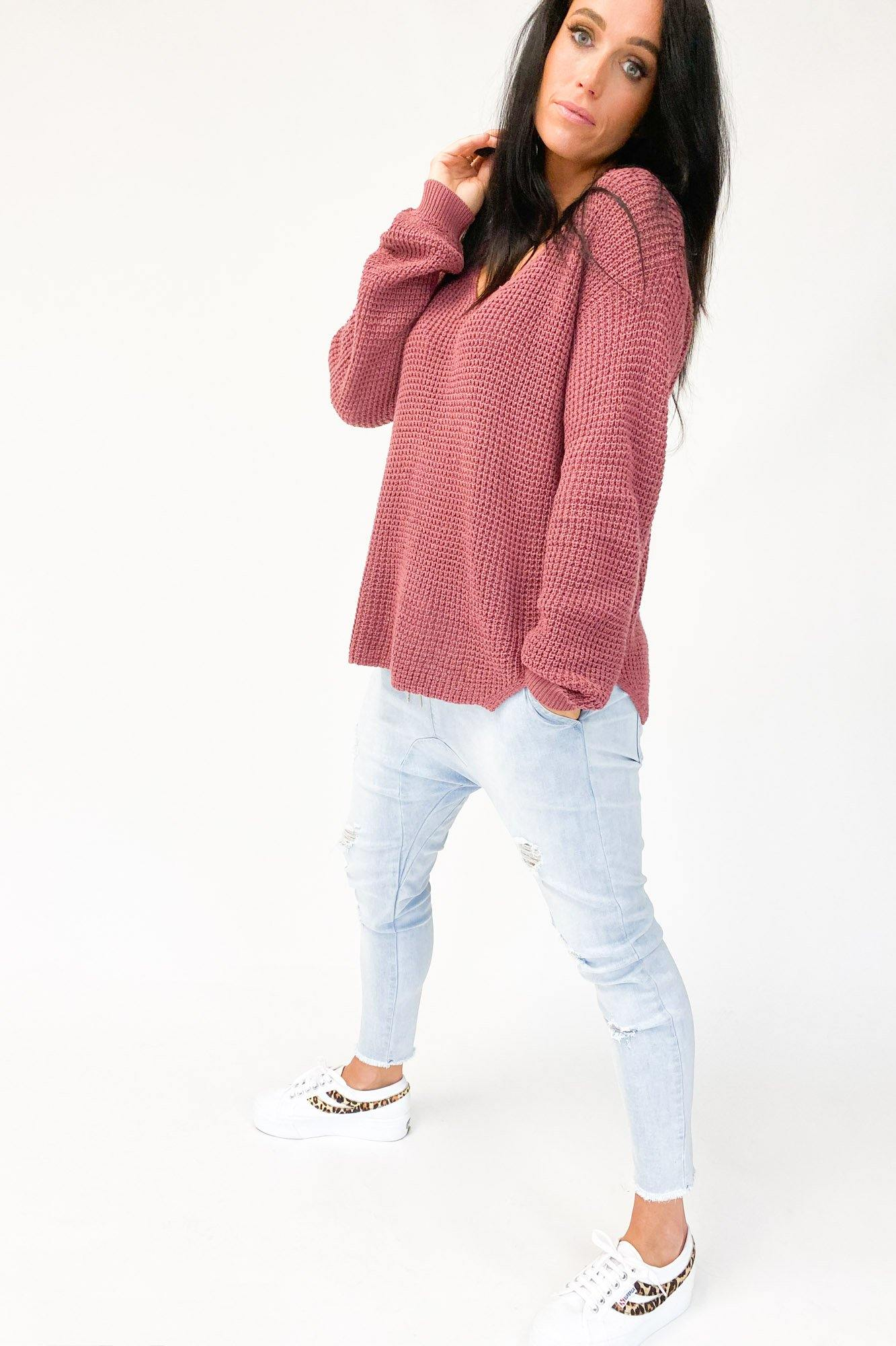 Foxwood Lilly Vee Neck Knit Pink
