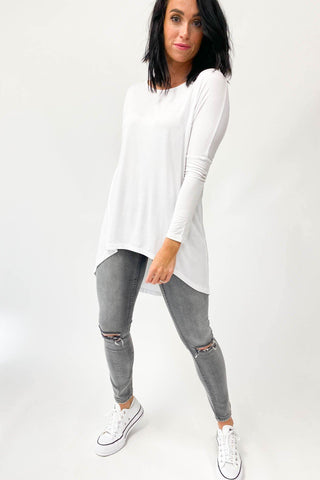 Freez Long Sleeve Slouch Tee White (Freez2)