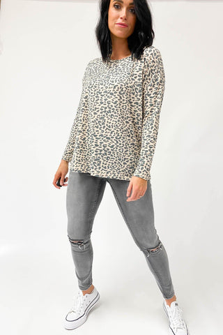 Freez Long Sleeve Slouch Top Peach Animal (Freez2)