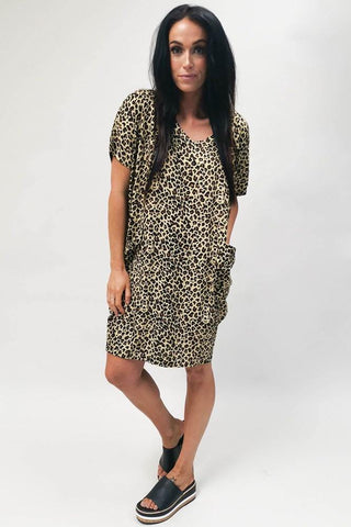 Freez Pocket Dress Brown Animal (2 for $89 Offer)