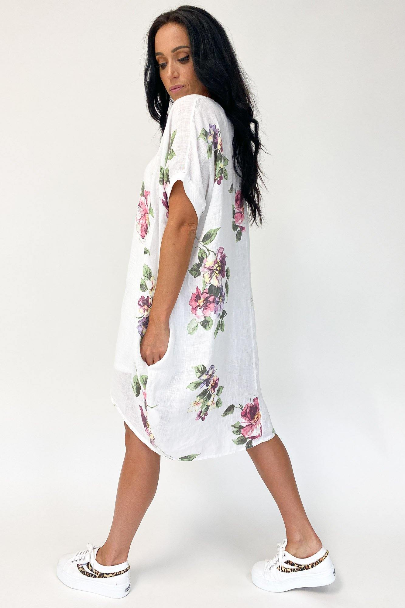 Italian Cartel Camo Floral Dress White