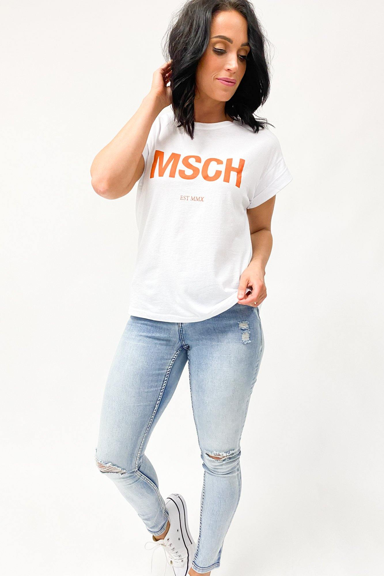 Moss Copenhagen Alva MSCH Tee Bright White Apricot Orange