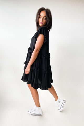 New U Collection Bec Frill Dress Black