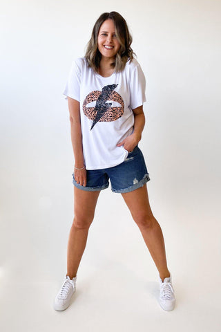 New U Collection Lips Bolt Tee White
