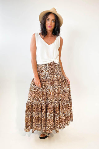 New U Collection Maxi Skirt Brown Leopard
