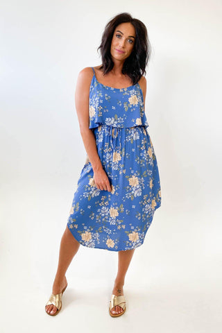 New U Collection Two Piece Look Dress Dark Blue