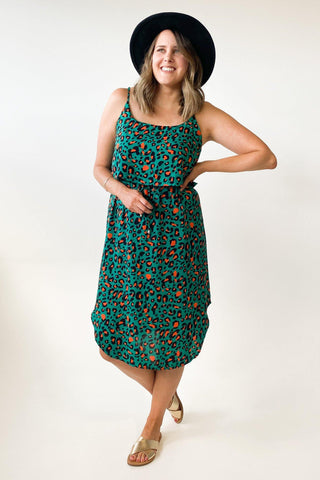 New U Collection Two Piece Look Dress Green Leopard