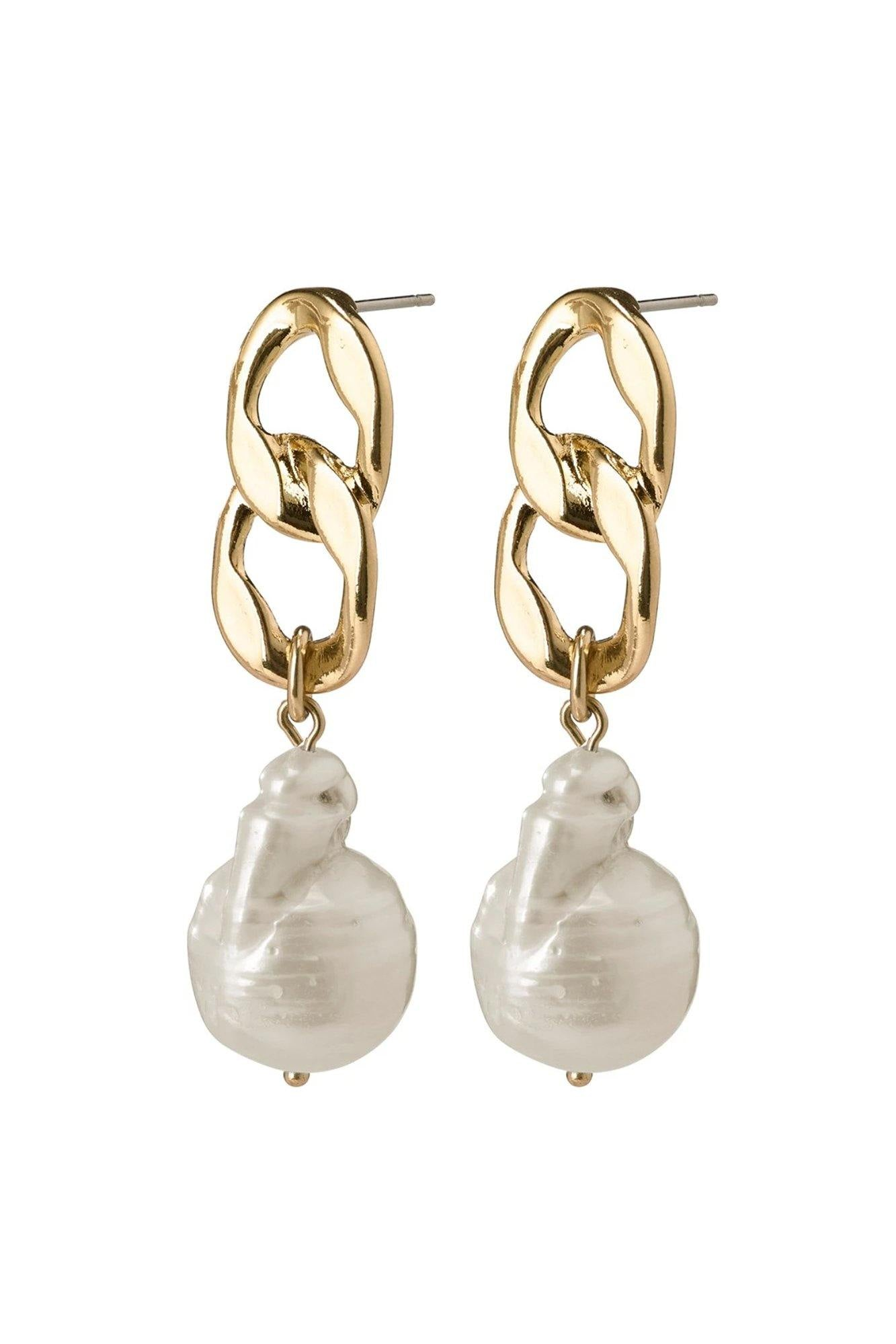 Pilgrim Gracefulness Earrings Gold Plated Pearl
