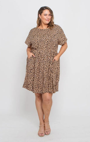 Leoni Curve Asher Dress Camel Leopard