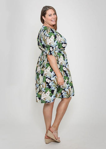 Leoni Curve Prea Dress Green Floral