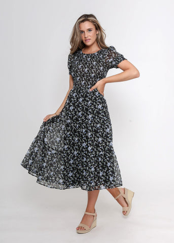 Leoni Short Sleeve Phoenix Dress Navy Floral