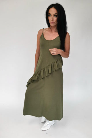 Sass Maisey Ruffle Dress Moss Green