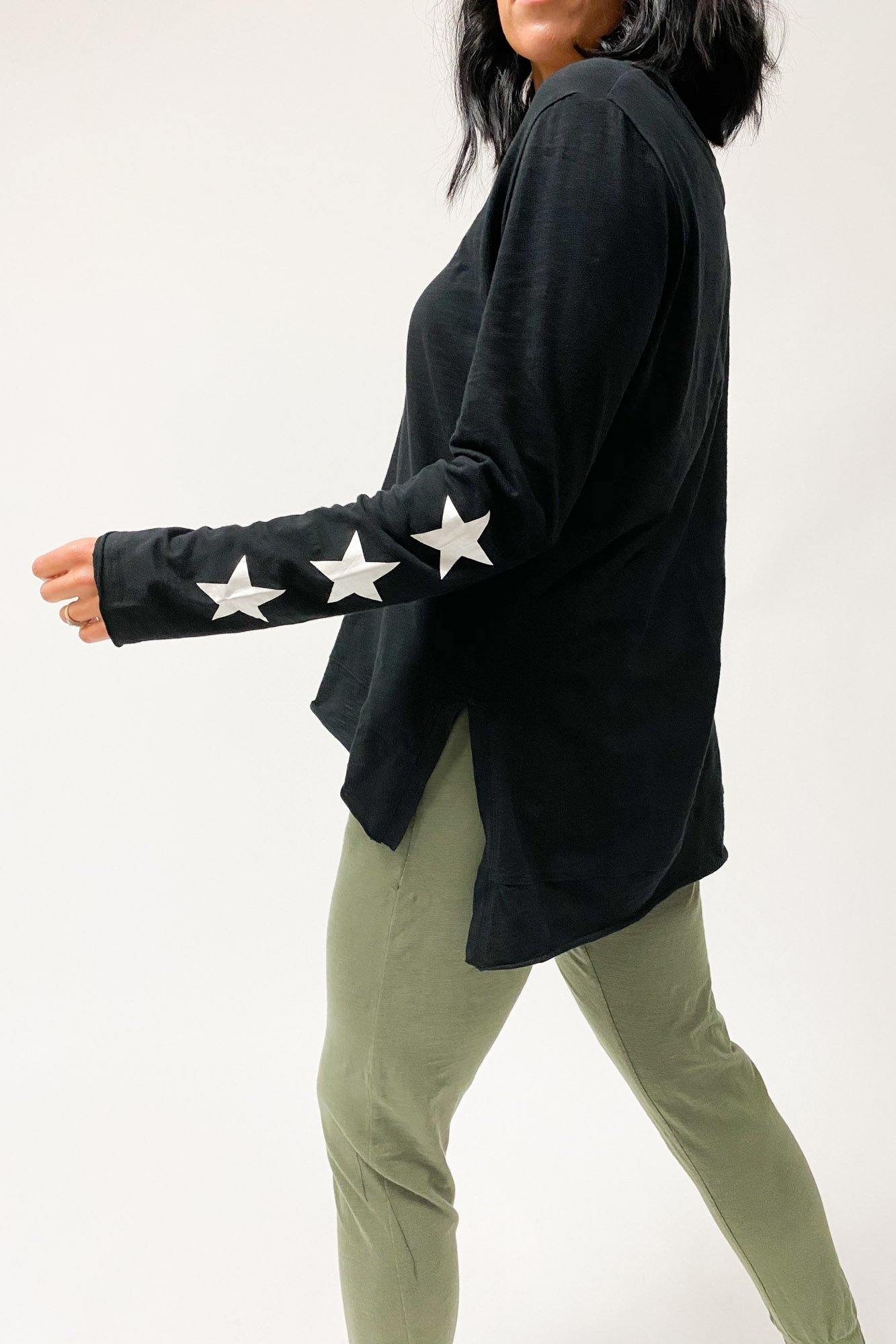 Sat + Sun 3 Star LS Tee Black