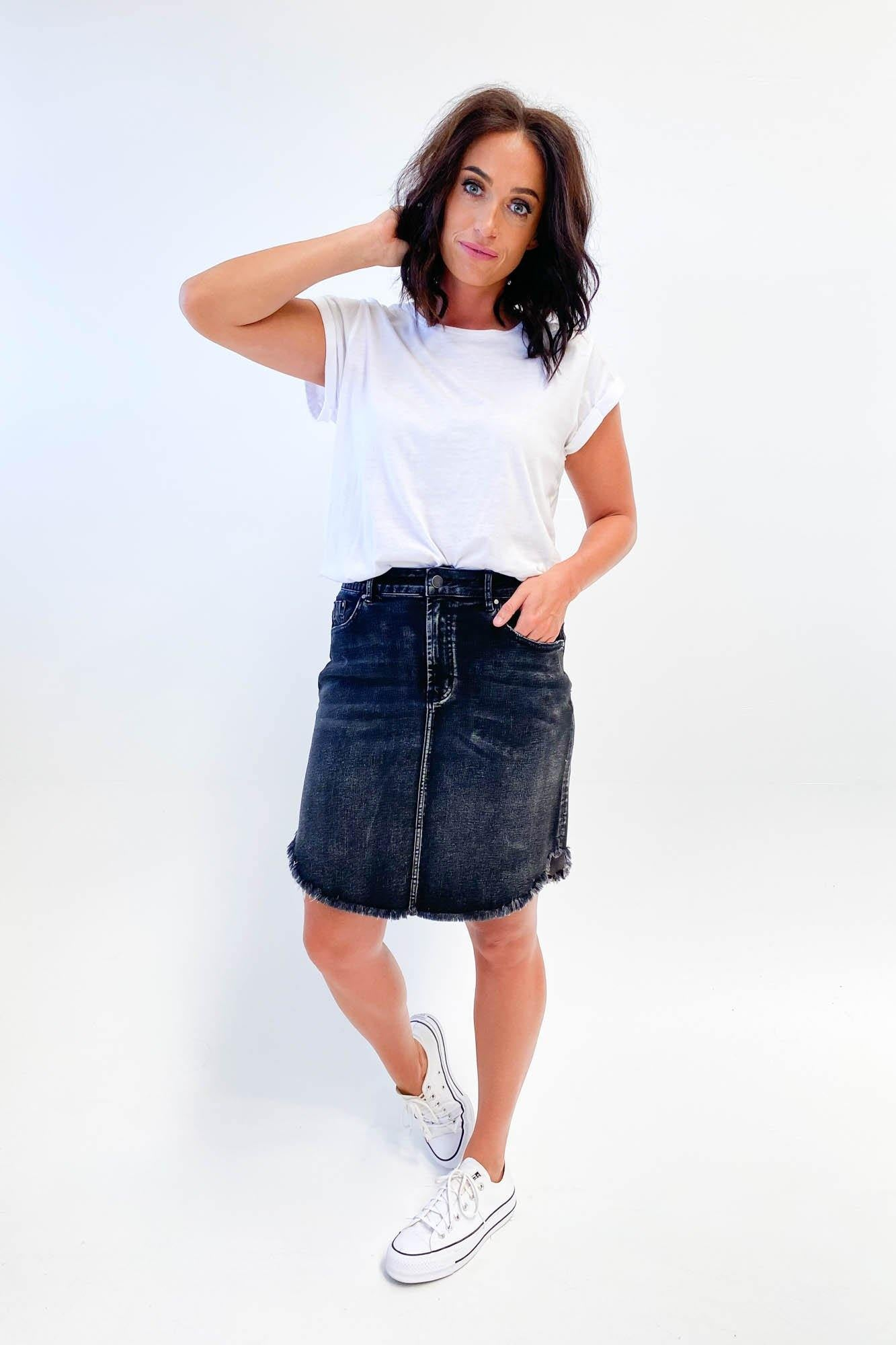Shine On Label Ebony Denim Skirt Washed Black