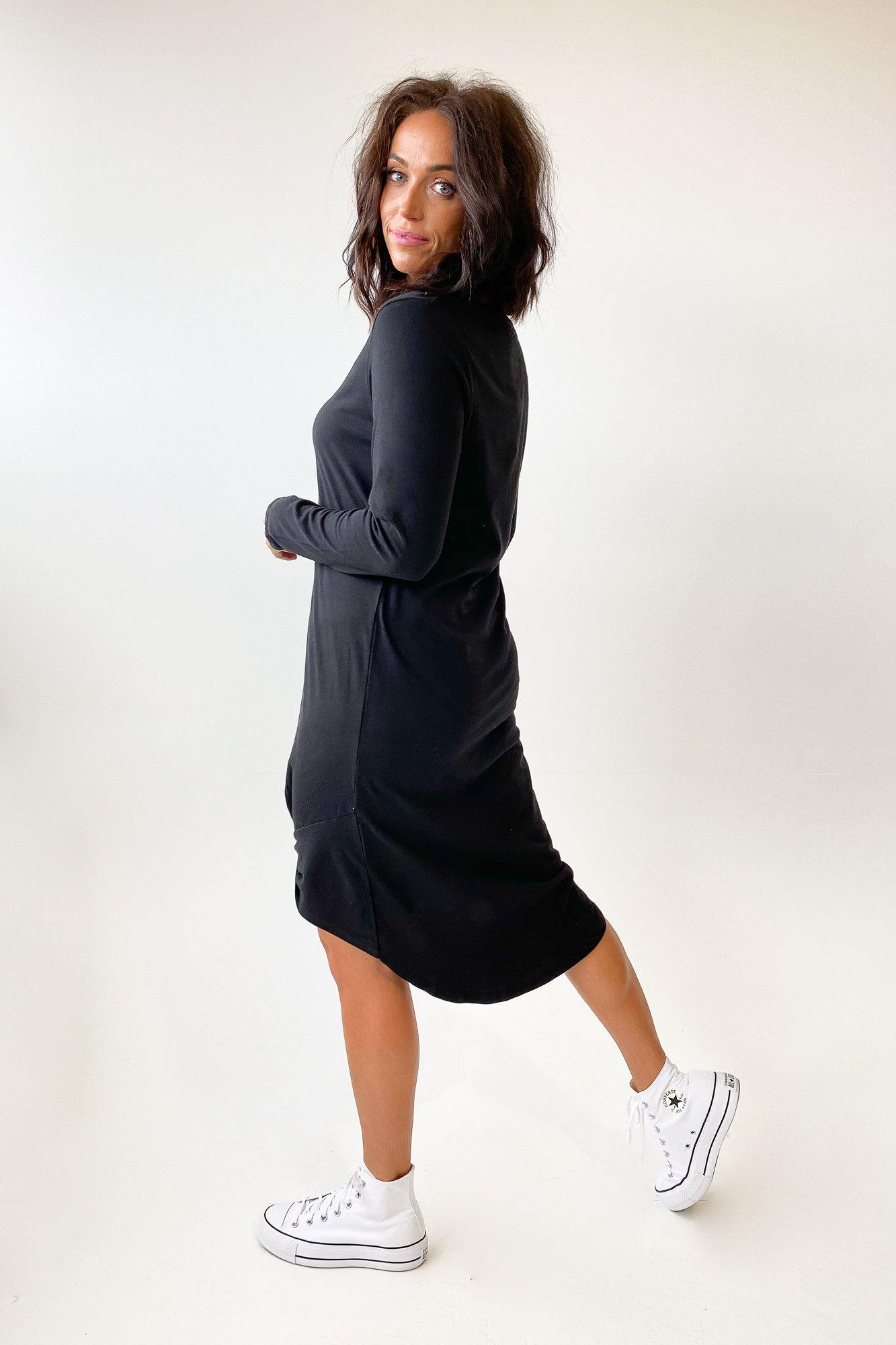 Silent Theory Long Sleeve Twisted Tee Dress Black