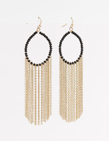 Stella + Gemma Earrings Black Bead With Chain