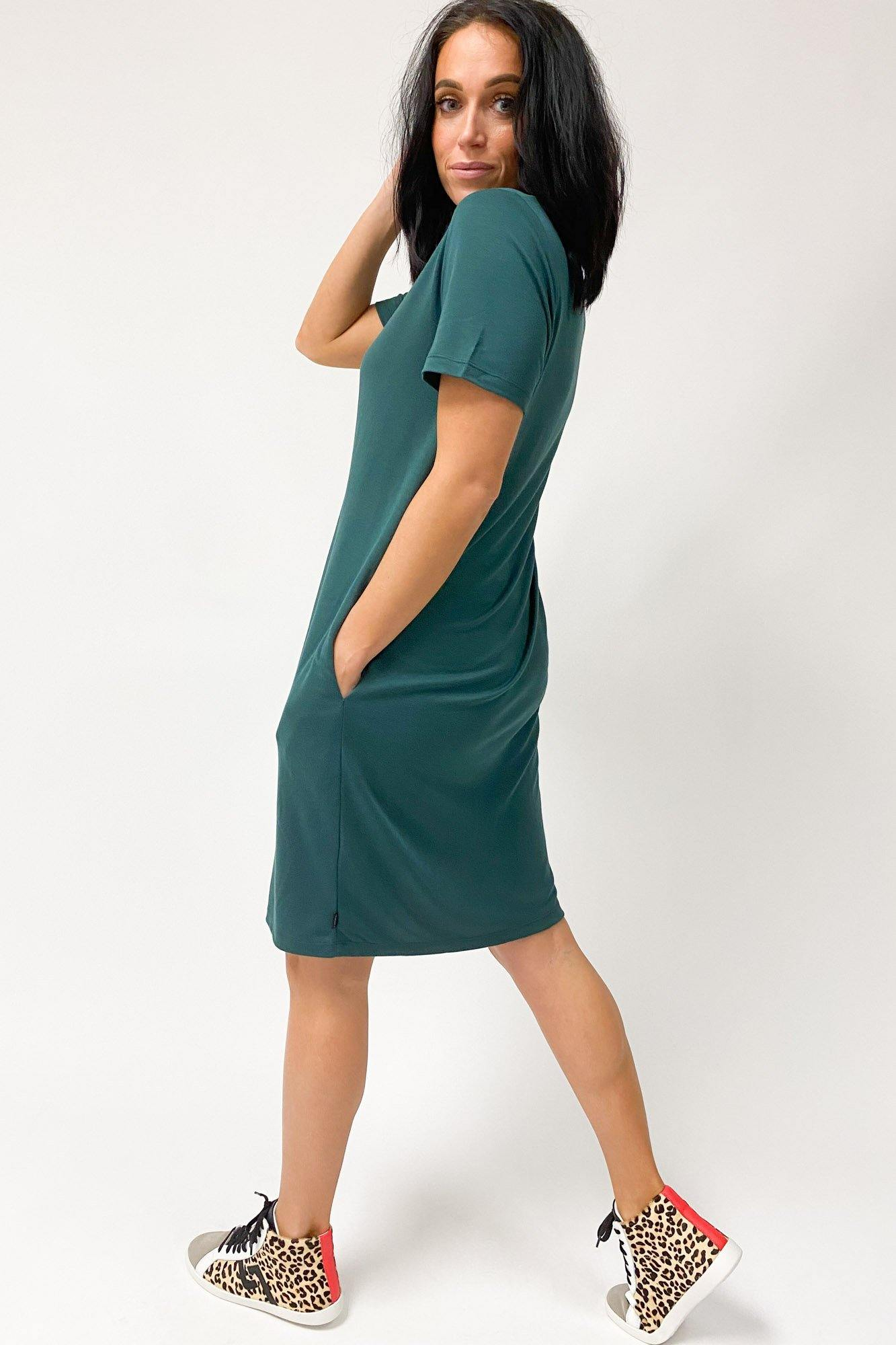 Silent Theory Gravity Tee Dress Bottle Green