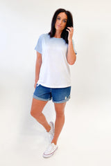Stella + Gemma T-Shirt Ombre Denim White Star Cross