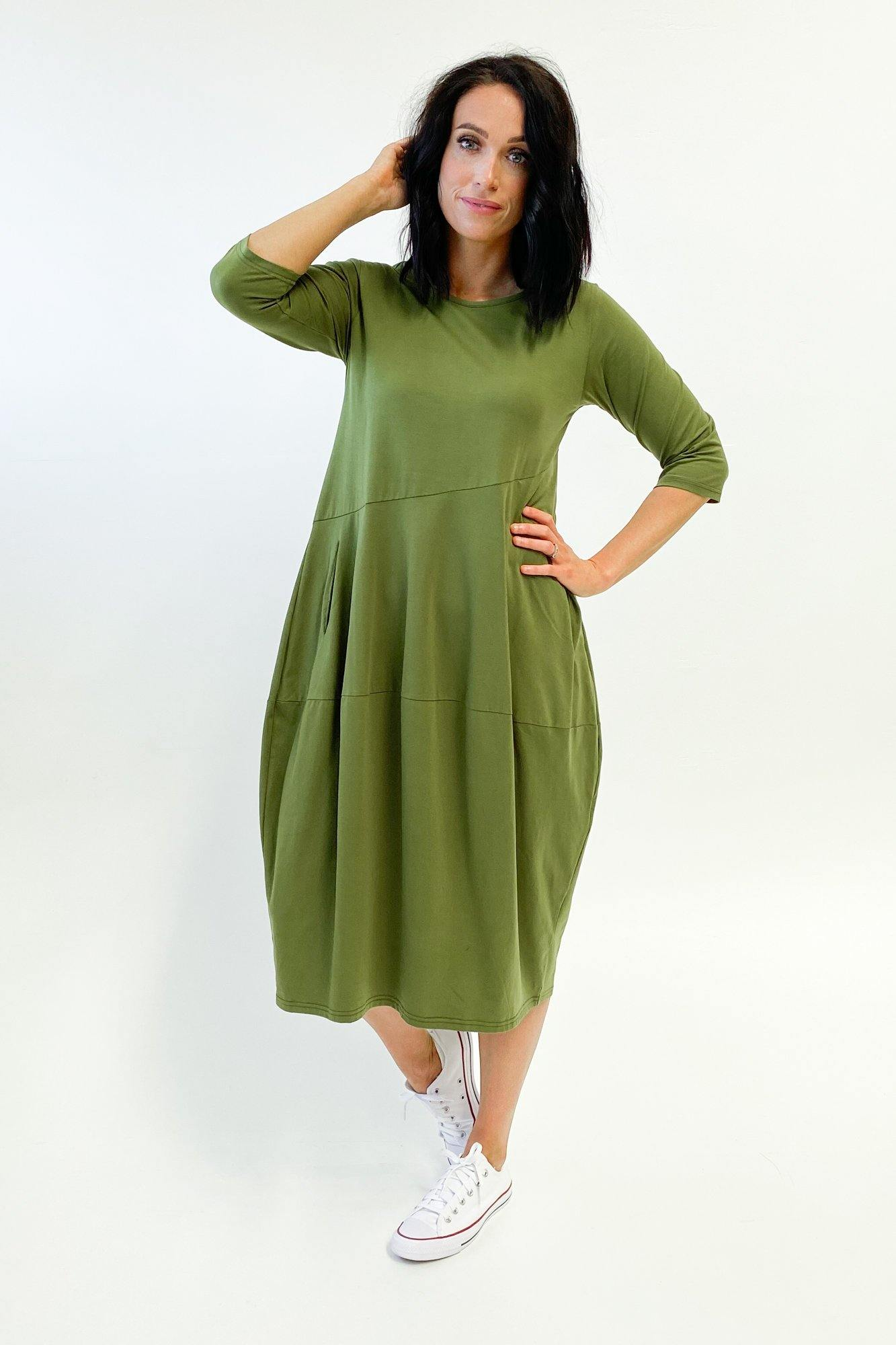 Tirelli Diagonal Seam Dress Moss