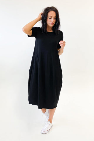 Tirelli Short Sleeve Diagonal Dress Black