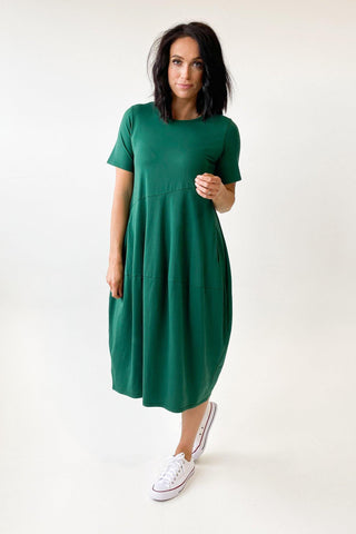 Tirelli Short Sleeve Diagonal Dress Pine Green