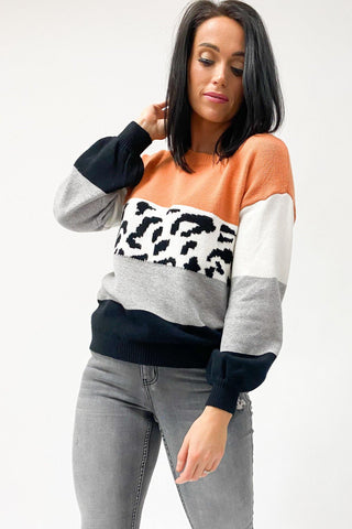 Tequila Sunrise Leopard Print Block Knit Jumper Orange