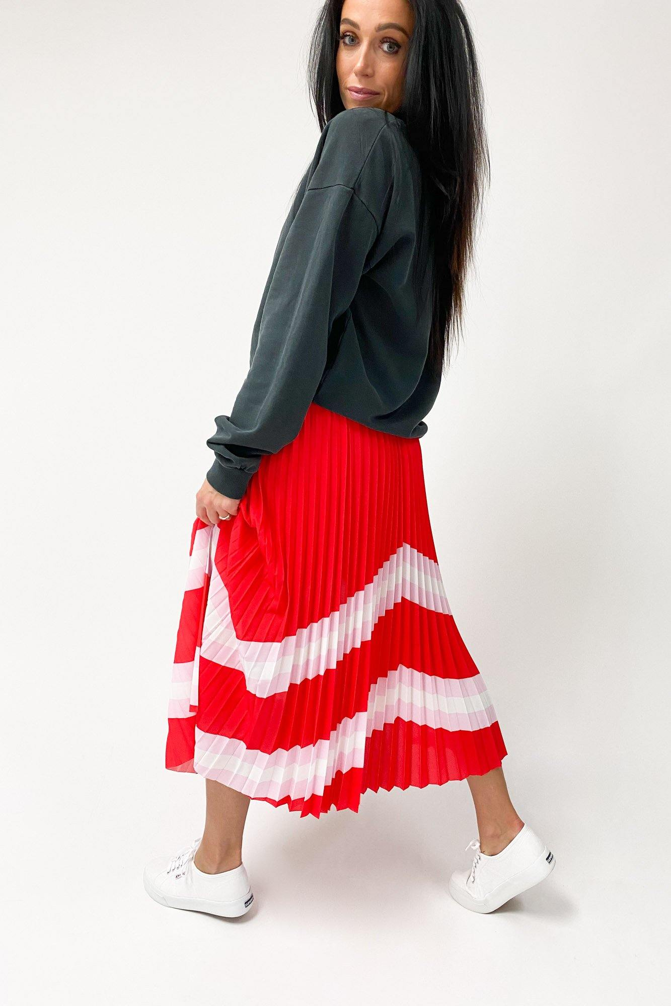 The Others The Sunray Skirt Red Pink White Horizon