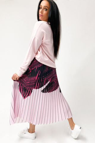 The Others The Sunray Skirt Black Hot Pink