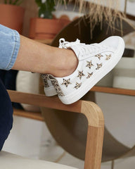 Walnut Melbourne Haven Leather Sneaker Leopard Star