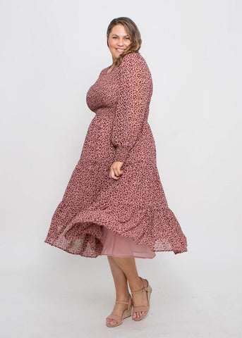 Leoni Curve Zarel Dress Dark Rose Leopard