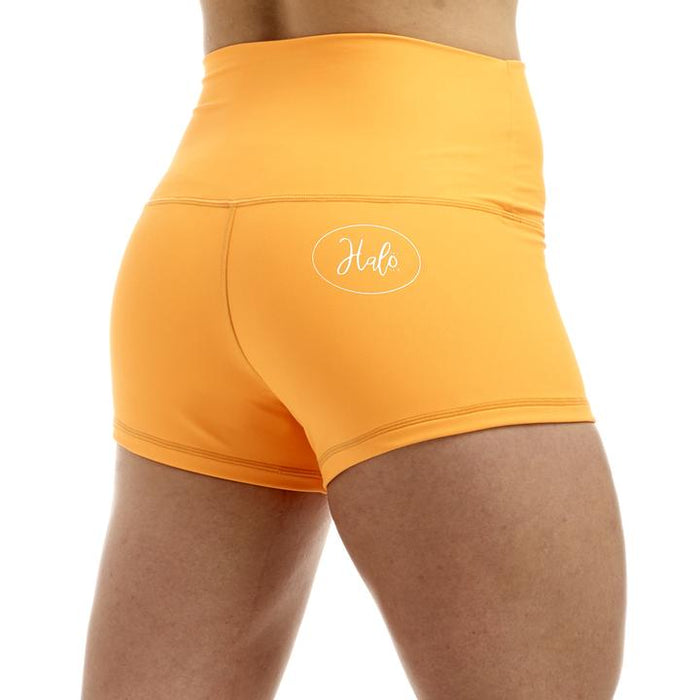 Neon Orange High Rise Roll Down Booty Shorts