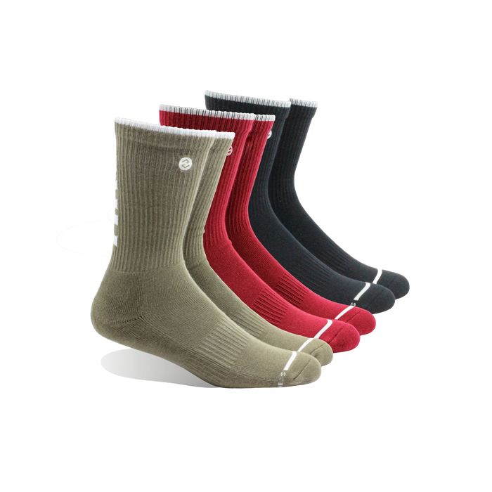 HRG Bali Red / Olive / Black 3 Pack Classic Crew Sock