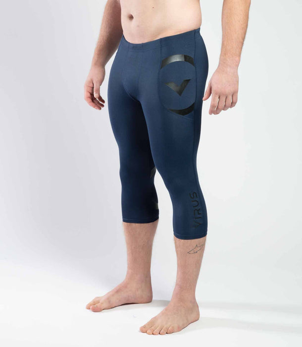 Racer 3/4 Length Stay Cool Compression Tech Pant - Heather Navy/Black