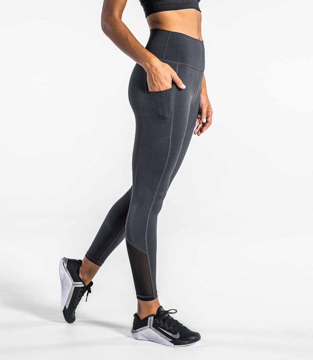 Utility High Rise Compression Pant - Heather Charcoal/Silver