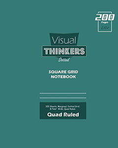 Visual Thinkers (Lite) Square Grid, Quad Ruled, Composition Notebook, 100 Sheets, Large Size 8 x 10 Inch Olive Cover