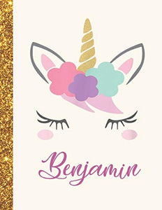 Benjamin: Benjamin Unicorn Personalized Black Paper SketchBook for Girls and Kids to Drawing and Sketching Doodle Taking Note Marble Size 8.5 x 11