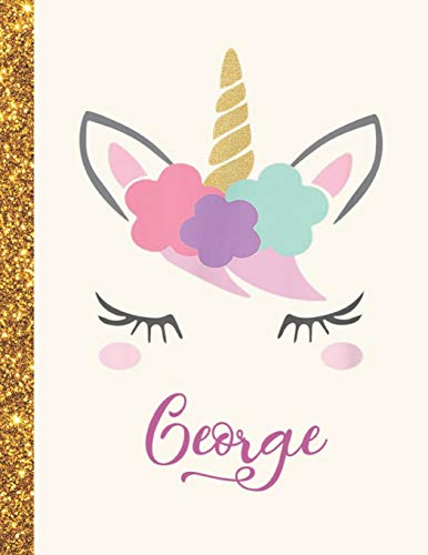 George: George Unicorn Personalized Black Paper SketchBook for Girls and Kids to Drawing and Sketching Doodle Taking Note Marble Size 8.5 x 11