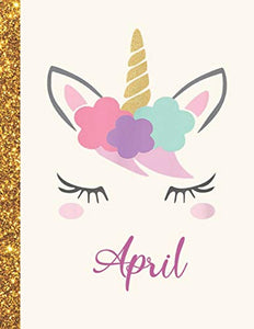 April: April Unicorn Personalized Black Paper SketchBook for Girls and Kids to Drawing and Sketching Doodle Taking Note Marble Size 8.5 x 11