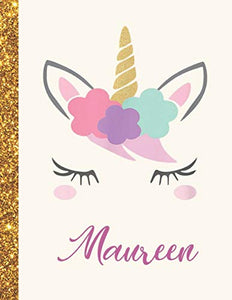 Maureen: Maureen Unicorn Personalized Black Paper SketchBook for Girls and Kids to Drawing and Sketching Doodle Taking Note Marble Size 8.5 x 11