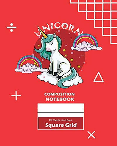Unicorn Square Grid, Graph Paper Composition Notebook, 100 Sheets, Large 8 x 10 Inch, Quad Ruled Red Cover