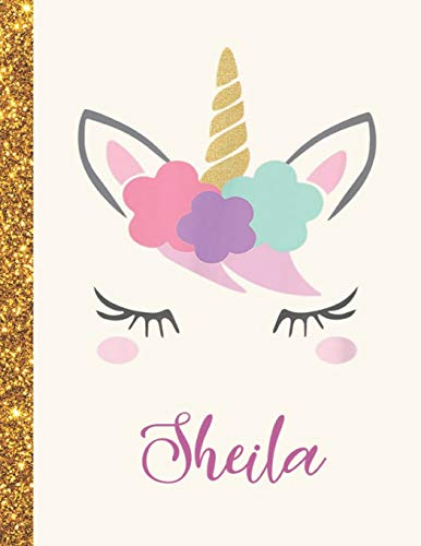 Sheila: Sheila Unicorn Personalized Black Paper SketchBook for Girls and Kids to Drawing and Sketching Doodle Taking Note Marble Size 8.5 x 11