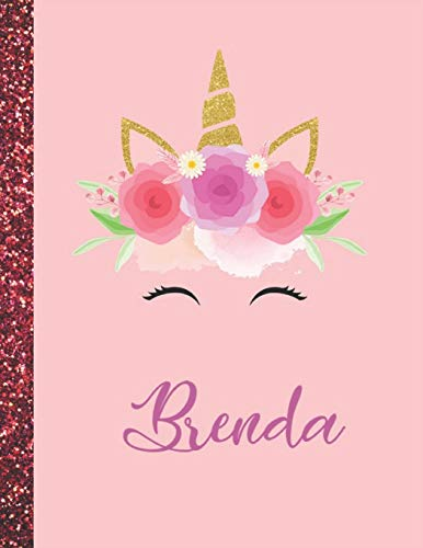 Brenda: Brenda Marble Size Unicorn SketchBook Personalized White Paper for Girls and Kids to Drawing and Sketching Doodle Taking Note Size 8.5 x 11
