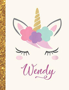Wendy: Wendy Unicorn Personalized Black Paper SketchBook for Girls and Kids to Drawing and Sketching Doodle Taking Note Marble Size 8.5 x 11