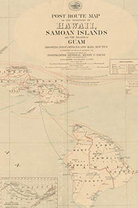 1904 Post Route Map of Hawaii, Samoan Islands, and the Island of Guam - A Poetose Notebook / Journal / Diary (50 pages/25 sheets) (Poetose Notebooks)