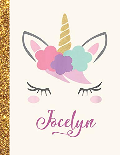 Jocelyn: Jocelyn Unicorn Personalized Black Paper SketchBook for Girls and Kids to Drawing and Sketching Doodle Taking Note Marble Size 8.5 x 11