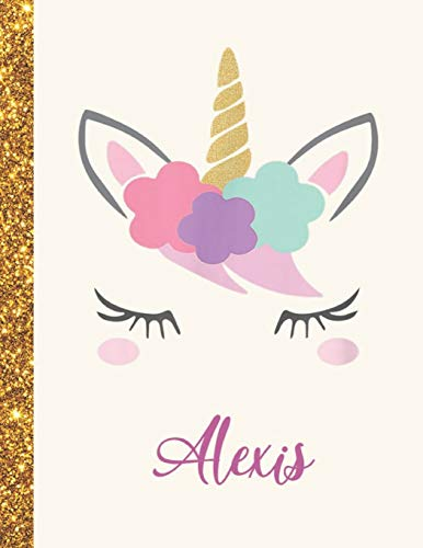Alexis: Alexis Unicorn Personalized Black Paper SketchBook for Girls and Kids to Drawing and Sketching Doodle Taking Note Marble Size 8.5 x 11