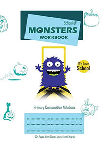 School of Monsters Workbook, A5 Size, Wide Ruled, White Paper, Primary Composition Notebook, 102 Sheets (White)